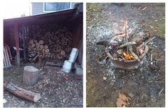 November chores:  stocking wood for our fireplace this winter.  We have access to some properties that let us take down the standing dead wood.  The brush from the firewood becomes kindling for our other projects...burning stumps.  Its a slower process but it works.  6 stumps down this year alone.