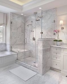 Enchanting luxurious master bathroom home decorating tips for baths and small bathroom. Mansion master bathroom to inspire your dream cutting-edge, romantic, and elegant decor for the dream spa luxury bathroom. Zen master bathroom with a jacuzzi and steam Dream Bathrooms, Small Bathroom, Bathroom Tubs, Bathroom Vanities, Bathroom Ideas, Master Bathrooms, Bathroom Organization, Bathroom Showers, Bathroom Cabinets