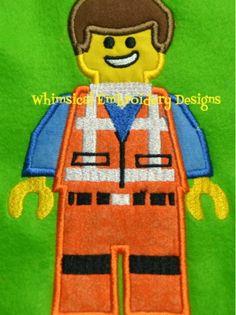 Emmitt Lego Applique Machine Embroidery Design INSTANT DOWNLOAD