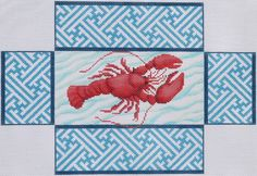 Brick - lobster on blue chinoiserie border