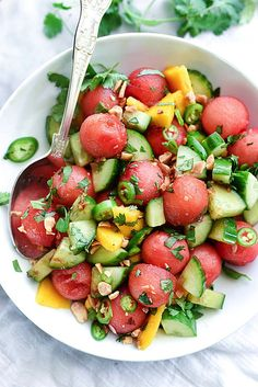 Cucumber, basil, and watermelon salad