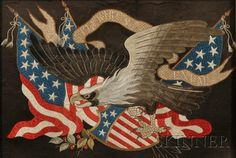 """Chinese Export Patriotic American Eagle Needlework, 19th century, silk and metallic threads on a silk ground depicting a spreadwing bald eagle with American flag and shield, and a banner inscribed """"E PLURIBUS UNUM,"""" the padded eagle figure fitted with a ceramic eye, 19 1/2 x 28 in., in a period carved wood frame."""