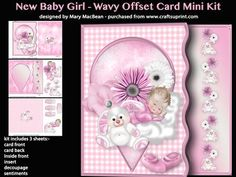 New Baby Girl Wavy Offset Card Mini Kit on Craftsuprint - View Now!