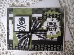 Handmade Greeting Card: Halloween Trick Or Treat (in Green and Black Colors)