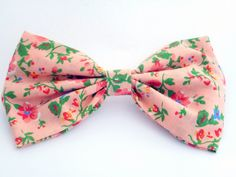 Peach Floral Large Hair Bow Clip £6.00. Available from Nina's Accessories.