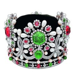 Farah Diba Crown, Diamonds, Emeralds, and Pearls, via Sultanesque