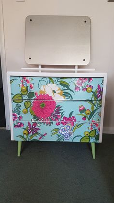 Beautiful upcycled dressing table spray painted in white gloss and flower power decoupage to the drawers created by touchwood vintage designs check out my Facebook page Touchwood vintage designs