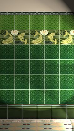Verlegebeispiel F 94a V1, verlegebeispiel, f, 94a, v1, art, nouveau, tiles, samples, wall, decorated