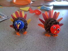 Kid Handprint Pinecone Turkeys
