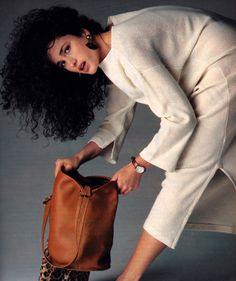 Oliviero Tosani for Mademoiselle magazine, June 1985. Dress by Joan Vass USA. Andie MacDowell.