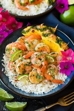 Could there be a better way to enjoy summer than with this delicious tropicalCilantro-Lime Salmon with Coconut Rice? I recently shared a salmon recipe wit