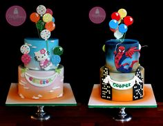 Double Sided Cake, Hello Kitty and Spiderman Pretty Cakes, Cute Cakes, Beautiful Cakes, Amazing Cakes, Twin Birthday Cakes, Twins Cake, Hello Kitty Cake, Superhero Cake, Fancy Cookies