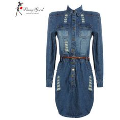 2013 Fashion Long Sleeve Dress Women's Vintage Jeans Denim Dress With... ($38) ❤ liked on Polyvore