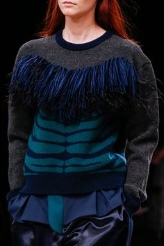 Sacai Fall 2013 RTW - Runway Photos - Fashion Week - Runway, Fashion Shows and Collections - Vogue - Vogue Runway Fashion, Fashion Show, Fashion Looks, Fashion Design, Easy Science, Knitwear Fashion, Textile Fabrics, Black Pattern, Lace Knitting