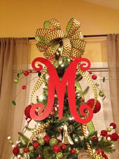 Christmas bow tree topper with initial