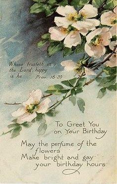 Gibson Wild Rose Scripture Bible Verse Religious Birthday Vtg Antique Postcard