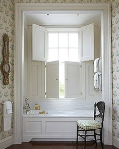 Custom made white solid window shutters from Shuttersouth, Hampshire's leading shutter design and installation experts. Variety of custom colours available. Indoor Shutters, Wooden Shutters, Interior Shutters, Bathroom Windows, Bath Window, Beautiful Bathrooms, Bathroom Inspiration, Master Bathroom, Cozy Bathroom
