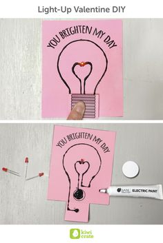 Light-Up Valentine DIY! This card is sure to be the highLIGHT of your Valentine's day! Conductive paint makes this an easy, but impressive, circuitry project.