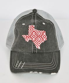 cfa0d6049d8 Faded gray trucker hat with state of Texas in maroon and white pattern -  outlined with rhinestones