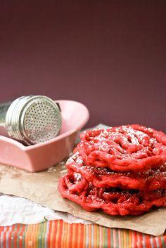 Red Velvet Funnel Cakes | Recipe via Krissy's Creations