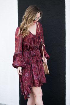 Miami blogger   style inspiration   burgundy peasant dress   black mules   Gucci soho disco bag   ombré hair