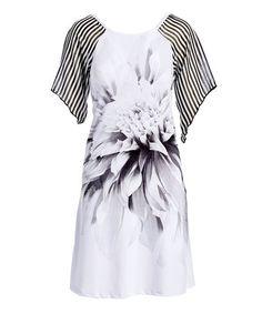 Black & White Floral Raglan Shift Dress #zulily #zulilyfinds
