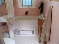 Pink bathroom that doesn't bum a person out the minute they step inside. Now I just have to learn to grout. Pink Bathroom Decor, Bathroom Ideas, Toilet Pictures, Pink Toilet, Pink Baths, Vintage Bathrooms, Step Inside, White Beige, Pink White