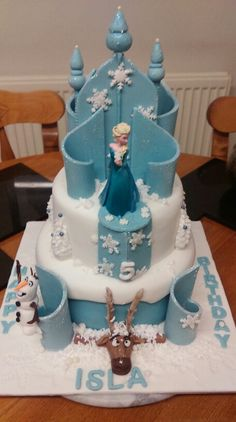 Frozen Frozen Themed Birthday Cake, Frozen Themed Birthday Party, Birthday Cake Girls, Themed Cakes, Frozen Castle Cake, Frozen Cake, Frozen Decorations, Elsa Cakes, Disney Cakes
