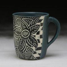 Euphorbia mug; Sgraffito, Pottery Ideas, Clay, Mugs, Tableware, Cherry, Clays, Dinnerware, Tumblers