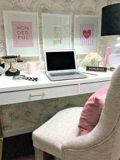 Organize Your New Year with These Home Office Solutions Home Office Design, Home Office Decor, Diy Home Decor, Office Ideas, Glamour Decor, Woman Bedroom, Office Makeover, Bedroom Decor, Bedroom Ideas