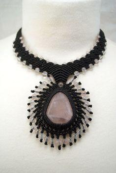 Ian Lander Jewelery : Macrame : Necklaces : Rose Quartz