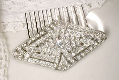 Antique Hair Comb OR Sash Brooch, 1920s Art Deco Clear Rhinestone Silver Bridal Pin Flapper Hair Clip Great Gatsby Wedding Vintage Hairpiece by AmoreTreasure on Etsy https://www.etsy.com/listing/223736856/antique-hair-comb-or-sash-brooch-1920s