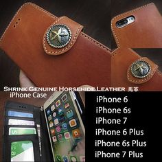 Genuine leather of the highest quality!   Genuine Shrink Horsehide Leather iPhone 6,6s,7/6,6s,7 Plus Flip Case WILD HEARTS Leather&Silver (ID ip3461d3)