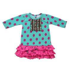 """""""Haute Dots"""" toddler & big girls' dress by Haute Baby is a head turner! Wild & zany yet so so girly! Teal & hot pink dots trimmed with trendy leopard ribbon.   Is she ready for cooler weather? """"Haute Dots"""" is all she needs! 100% cotton, machine wash cold, drip dry. Made in USA."""