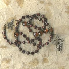 Rosary with Red Tigereye and Amber Crystal