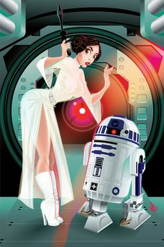 Princess Leia & R2-D2 - Star Wars - Juan F. Garcia https://www.bluehorizonprints.com.au/canvas-art/star-wars-art/
