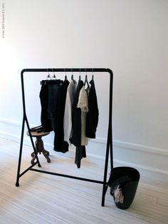 new IKEA clothes rack/ hang a couple outfits then in the am it won't be hard to pick out clothes