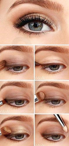 Golden Smokey Eye Make-up Tutorial! :-) Golden Smokey Eye Make-up Tutorial! Smokey Eyeshadow Tutorial, Eyeshadow Tutorial For Beginners, Eyeshadow Tutorials, Video Tutorials, Beauty Tutorials, Hair Tutorials, Beginner Makeup Tutorial, Eyeshadow Step By Step, Makeup Tutorial Step By Step