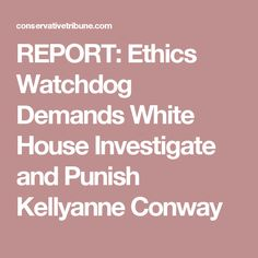REPORT: Ethics Watchdog Demands White House Investigate and Punish Kellyanne Conway