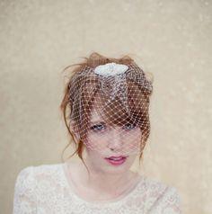 Birdcage veil, vintage inspired bandeau veil, russian veiling, cage veil, wedding headpiece, Sienna Ships in 1 Month. $68.00, via Etsy.