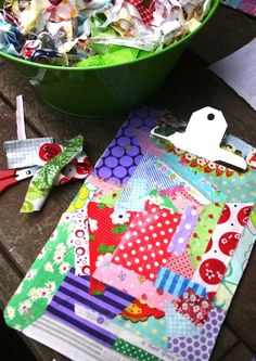 DIY mod podge clipboard with fabric scraps