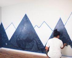 Kids Room Murals, Kids Room Paint, Wall Murals, Twin Nursery Gender Neutral, Nursery Twins, Elephant Nursery, Mountain Mural, Baby Boy Rooms, Room Themes