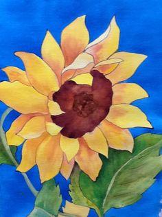 "Sunflower art - ""You Are My Sunshine"" - Acrylic Painting by Lorraine Skala"