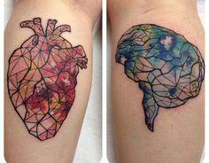 Amazing Real Heart And Brain Tattoo On Both Leg Calf