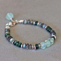 U&C Sundance Pale Mint Green Chalcedony Mystic Labradorite .925 Silver Bracelet #YuliyaDesigns #Beaded