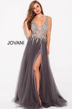 Gunmetal Embellished Bodice Plunging Neckline Prom Gown 54873 77f80233c