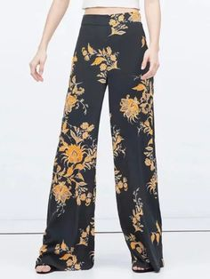 Black, Floral, High Waist, Palazzo, Flare Pants