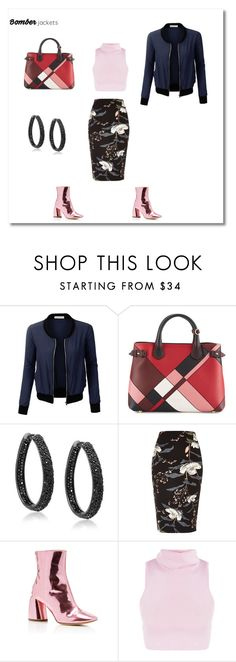 """""""IT'S THE BOMBS!-DROP A BOMB ON'EM THIS SEASON AND LEAVE'EM SHOOK IN THE COLD #BOMBASTIC #BACKinTHEday #THEBOMBshelter #THE90220baby"""" by g-vah-styles ❤ liked on Polyvore featuring LE3NO, Burberry, Bling Jewelry, River Island and E L L E R Y"""