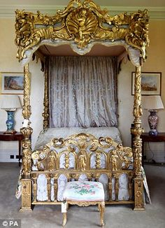 Italian Rococo giltwood tester bed, Christies sale Cowdray Park House near Midhurst, West Sussex