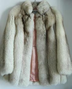 Vtg Avanti Fox Fur Coat Jacket XS s 6 8 Silver White Fox Fur Coat s Mink Jacket   eBay